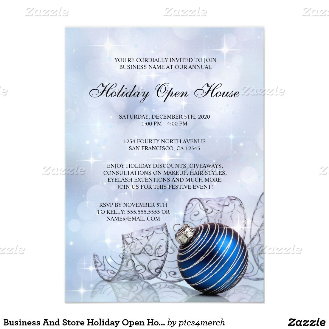 Open House Christmas Party Ideas Part - 44: Business And Store Holiday Open House Invitations
