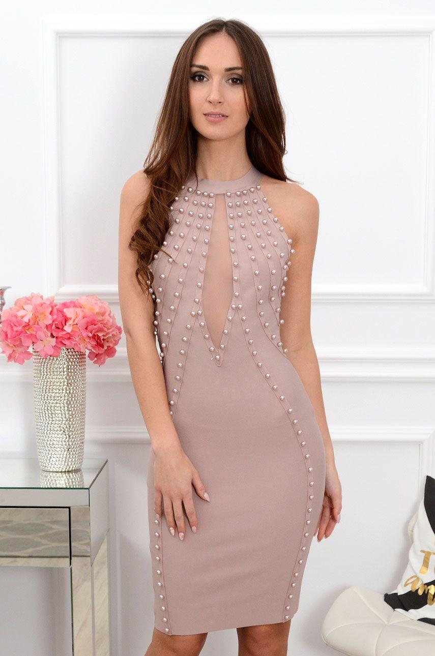 ab86294174 Sukienka bandażowa z perłami Camelia brudny róż