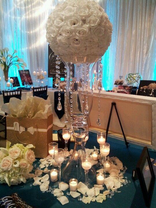 White rose ball centerpiece weddings decor