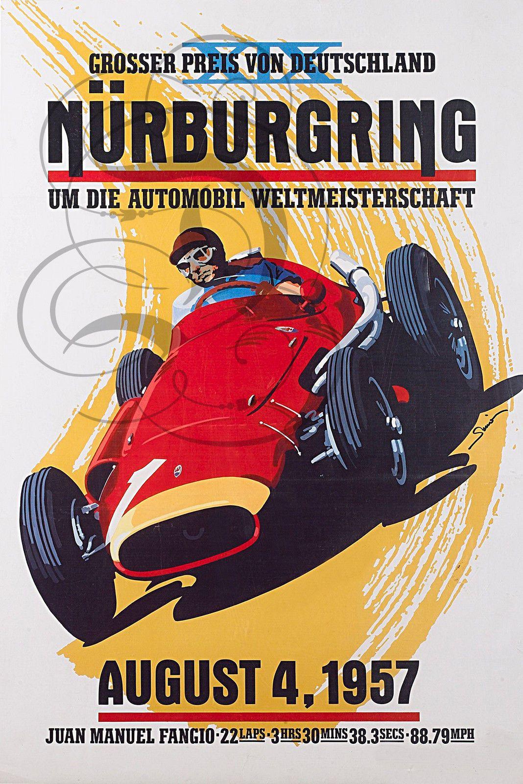 plaque alu reproduisant une affiche gp nurburgring 1957 fangio affiches pinterest formule. Black Bedroom Furniture Sets. Home Design Ideas