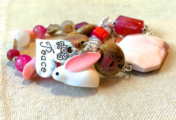 Easter bunny beaded bracelet pink mothers day gift wife easter gift items similar to easter bunny beaded bracelet pink mothers day gift wife easter gift girlfriend christian jewelry bohemian bracelet peace charm bracelet on negle Images