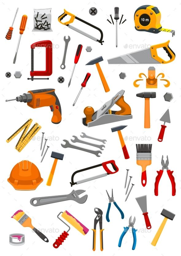 Building Repair Work Tools Vector Isolated Icons Made Object