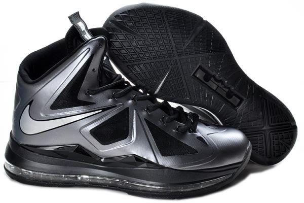 Nike Air Max LeBron James X 10 Silver/Black Basketball shoes