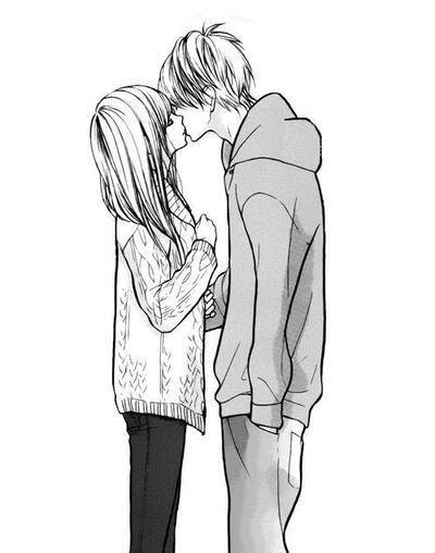 Anime girl and boy kissing drawing