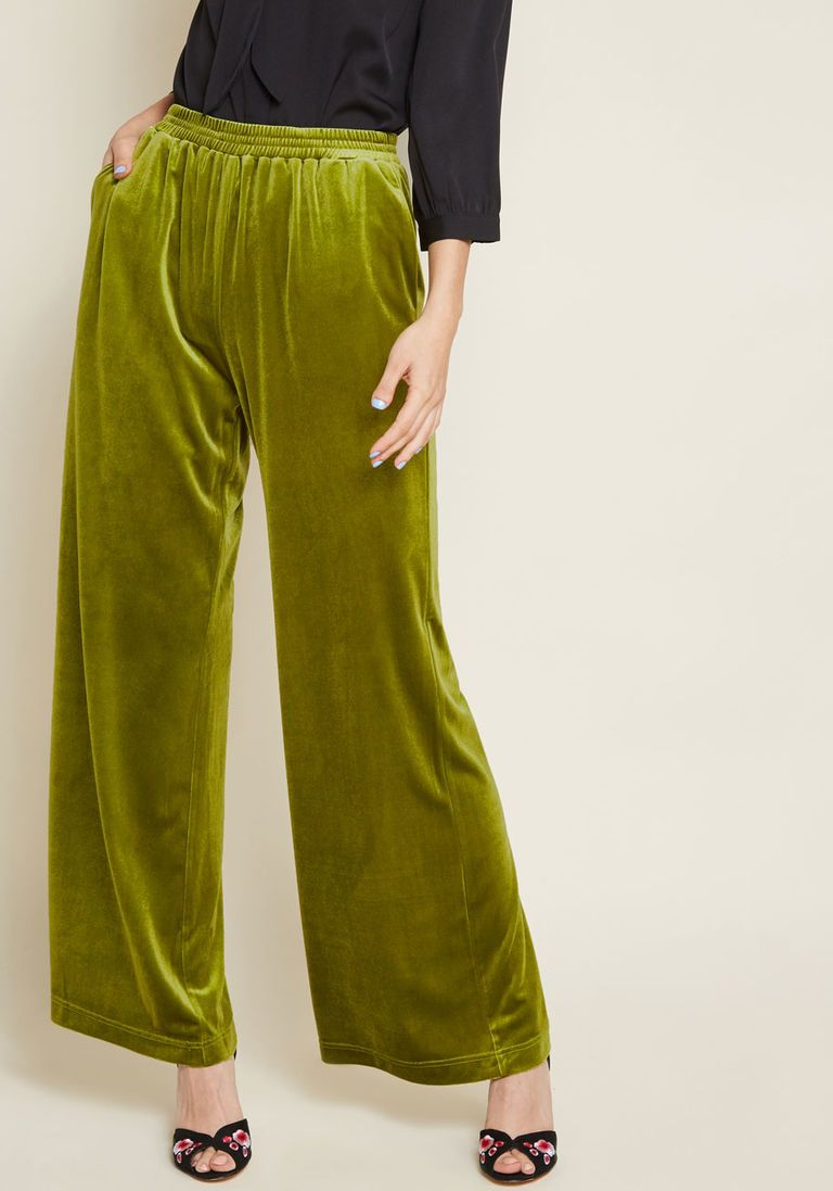 9af6cf2cfbc The Eugene Pant in Green Velvet in S - Wide Pant Long by ModCloth in ...