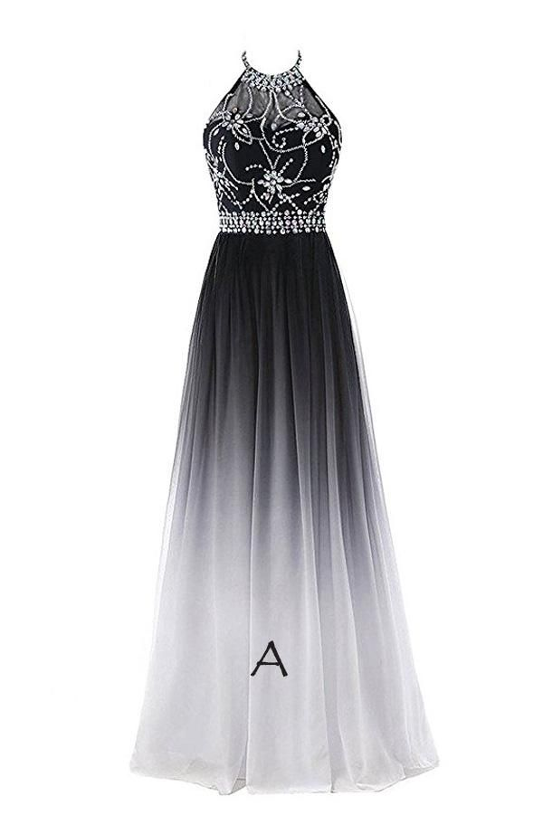 Photo of Elegant Black And White Ombre Chiffon A Line Backless Halter Beading Lace Up Long Prom Dress Formal Dress O19 – dresses