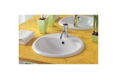 Whitehaus S56 White Single Bowl Porcelain Round Drop In Bathroom