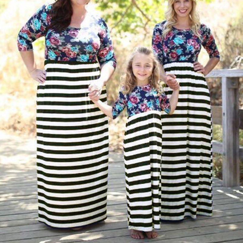 047cf5cd3 Summer Family Clothes Mother Daughter Beach Dresses Womens Girls ...