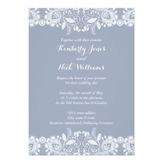 Sweet White Lace Dusty Blue Wedding Invitation *NEW INVENTORY visit our site to see all lace wedding invitations, our wedding collection suites, save the dates + more!