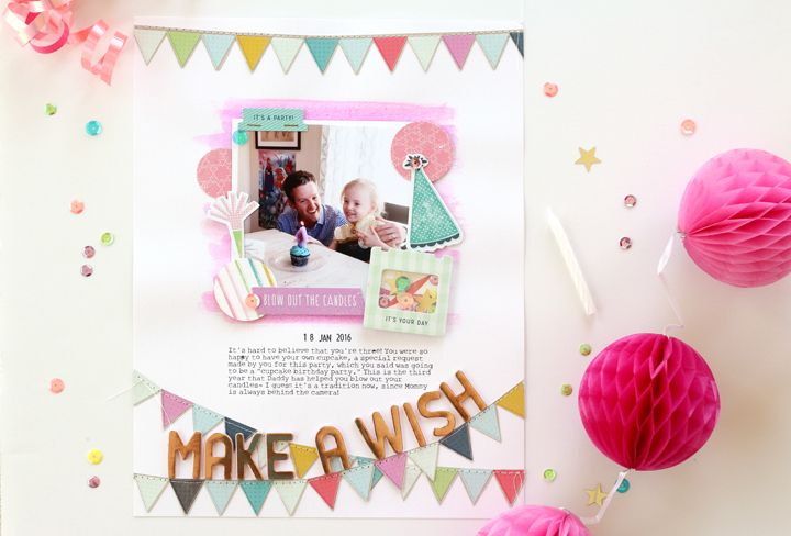 I am so excited to announce that I am the guest designer on the Pink  Paislee blog today during birthday week! I had such a fun time making these  creations using the new Birthday Bash collection,and I hope they inspire  you to document and craft your next party!  To create all of these proje