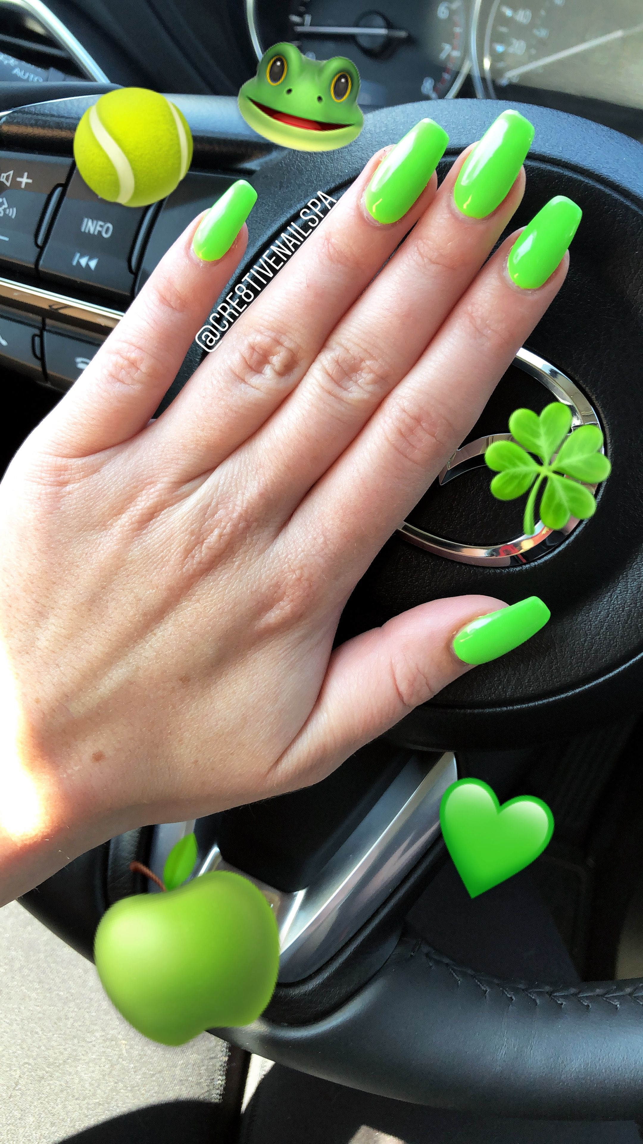 Lime Green Nails Square Acrylic Shape Coffin Accent Nail Nailfie