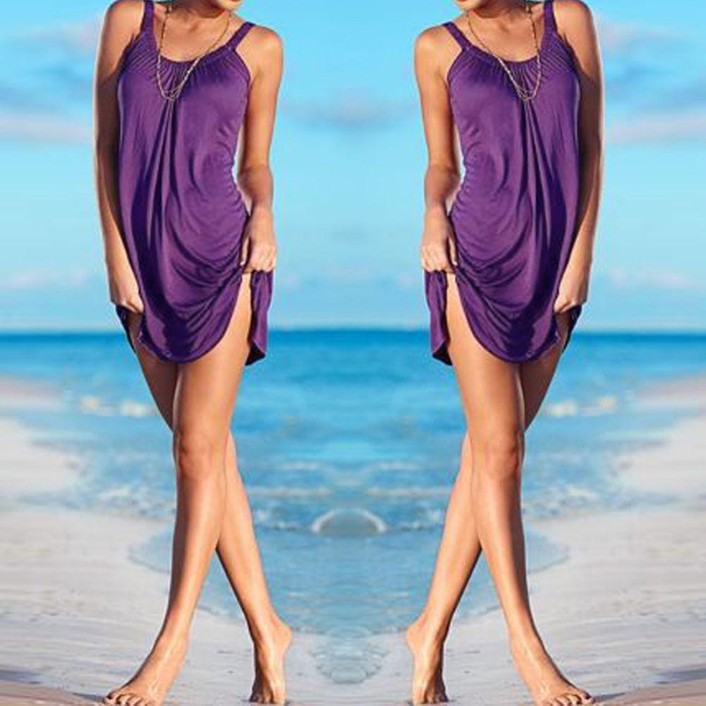 Women S Summer Sleeveless Evening Party Beach Dress Short Mini Dress Bathing Suit Cover Ups Pareo Beach Dresses Short Beach Mini Dress Beach Coverup Dress [ 1001 x 1001 Pixel ]