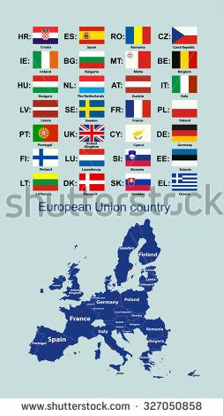 The European Union map and all the countries flags of the