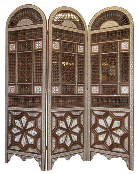 Mother Of Pearl Inlay Wooden Mini Folding Screen Asian: Middle Eastern Moroccan Inlaid Wooden Screen Room Divider