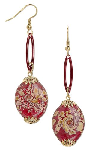 Earrings with Lampworked Glass Beads, Silver-Plated Brass with Double-Sided Epoxy Drops and Gold-Plated Brass Bead Caps