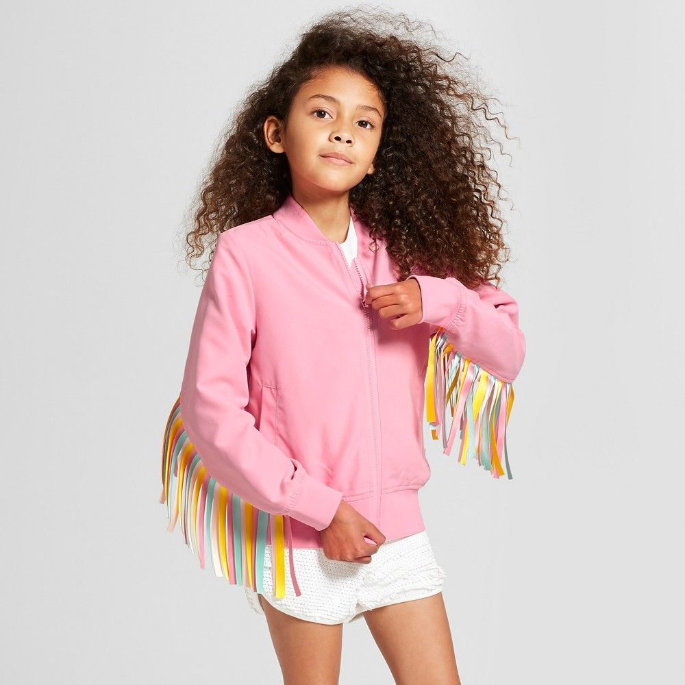 807f5dcf4cd1fd Girls' Ribbon Fringe Bomber Jacket - art class Pink | Products ...
