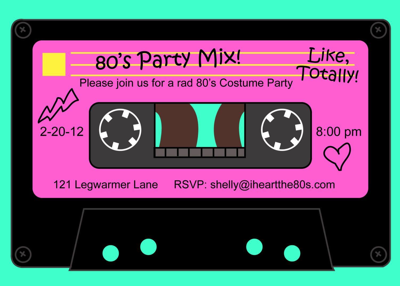 80\'s Party Mix Tape Custom Invitation | Party mix, Custom ...