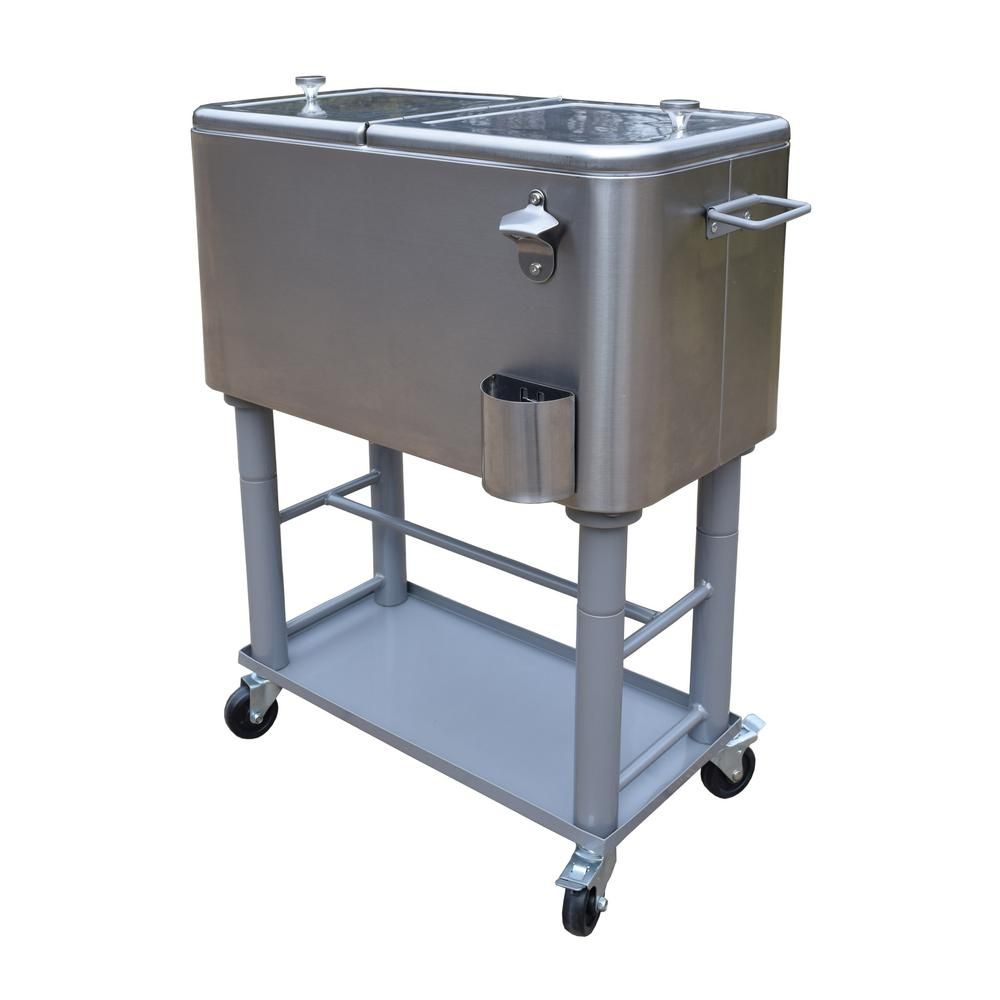 Oakland Living Stainless Steel 15 Gal  Party Cooler Cart