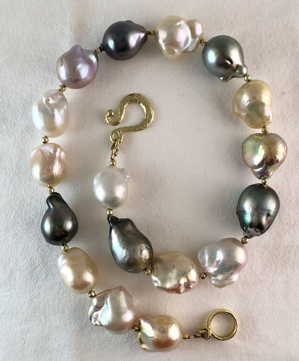 Jumbo Tahitian And Chinese Freshwater Pastel Pearl Blend Pearl Jewelry Baroque Pearl Necklace Artistic Jewelry