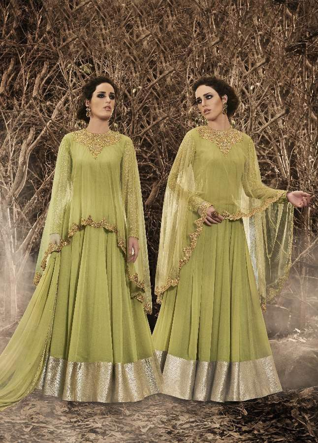 44c7aa11db Green Georgette  Poncho-Look  SalwarKameez with Dupatta
