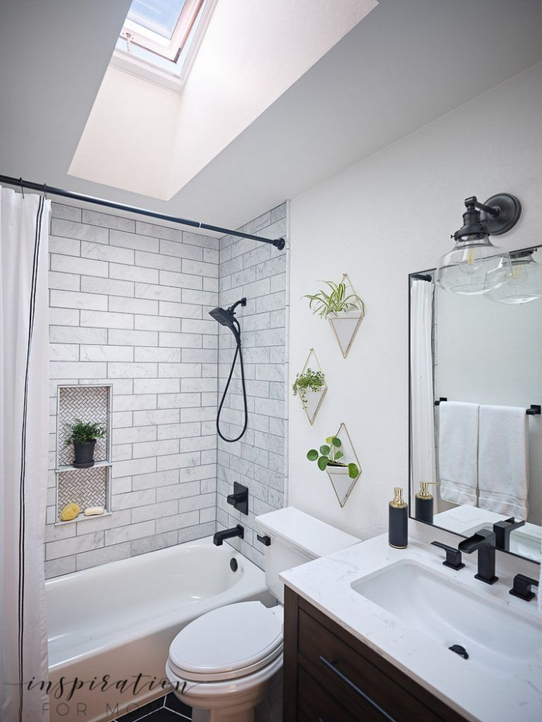 Small Bathroom Remodel with Velux Skylights - Inspiration For Moms