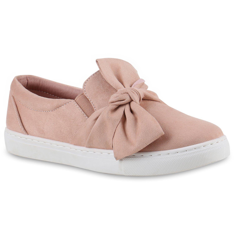 Bequeme Damen Slipper Sneaker Slip Ons Leder Optik Metallic Schuhe Schleifen Flats Denim Velours Flandell Schnurschuhe Sneaker Women Sneaker