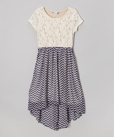 cd3013a0d96 Ivory Lace   Zigzag Navy Hi-Low Dress by Speechless on  zulily  ad  pretty