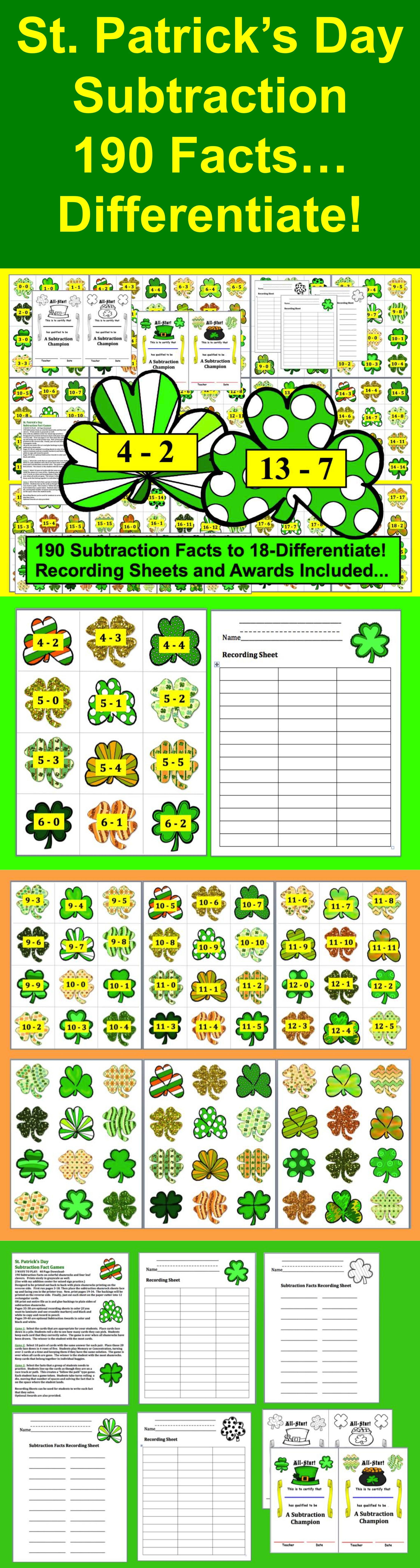 St Patrick S Day Math Subtraction