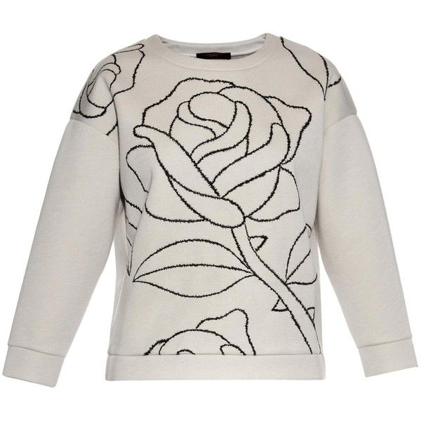 Weekend Max Mara Orologi sweatshirt (1.285 NOK) ❤ liked on Polyvore featuring tops, hoodies, sweatshirts, beige, embroidered top, embroidered sweatshirts, rose jersey, graphic tops and embroidered crop top