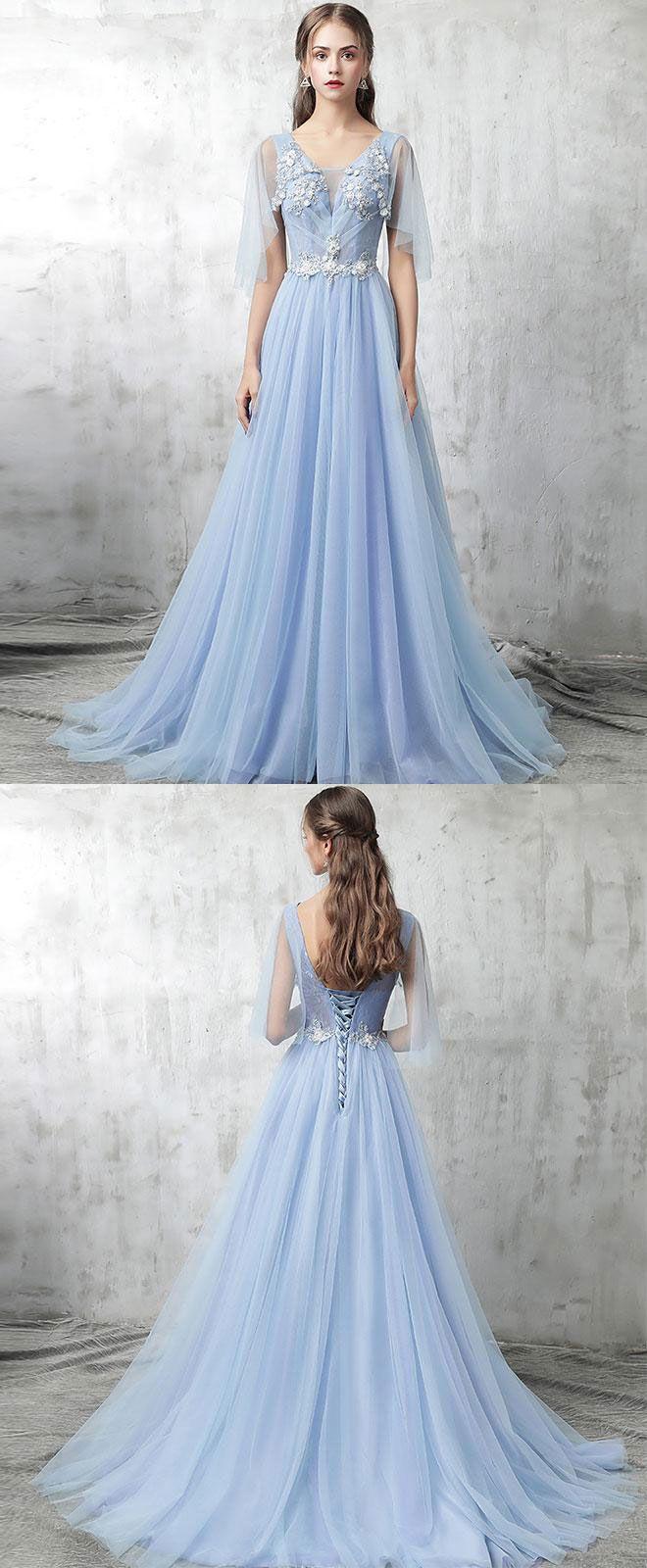 Blue v neck tulle lace applique long prom dress, blue evening dress ...