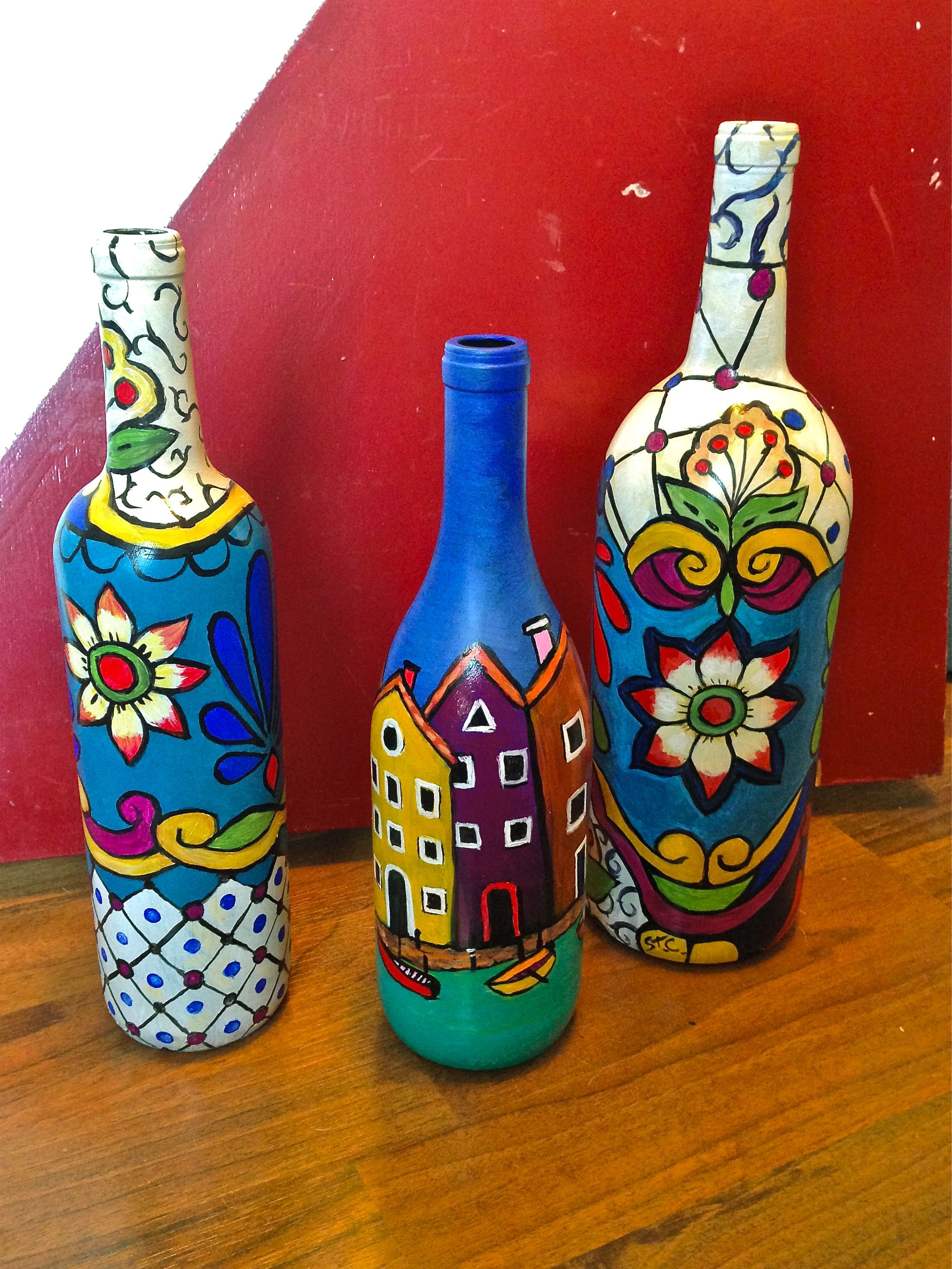 Hand painted art bottles bottles and cans pinterest for Hand painted bottles
