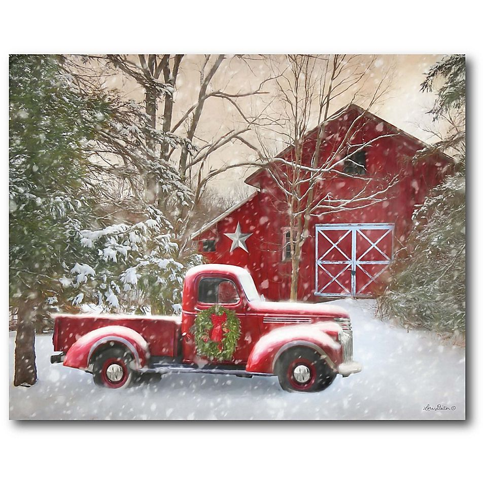 Courtside Market Barn With Truck 16 X 20 Canvas Wall Art Multi Christmas Red Truck Christmas Paintings Christmas Paintings On Canvas