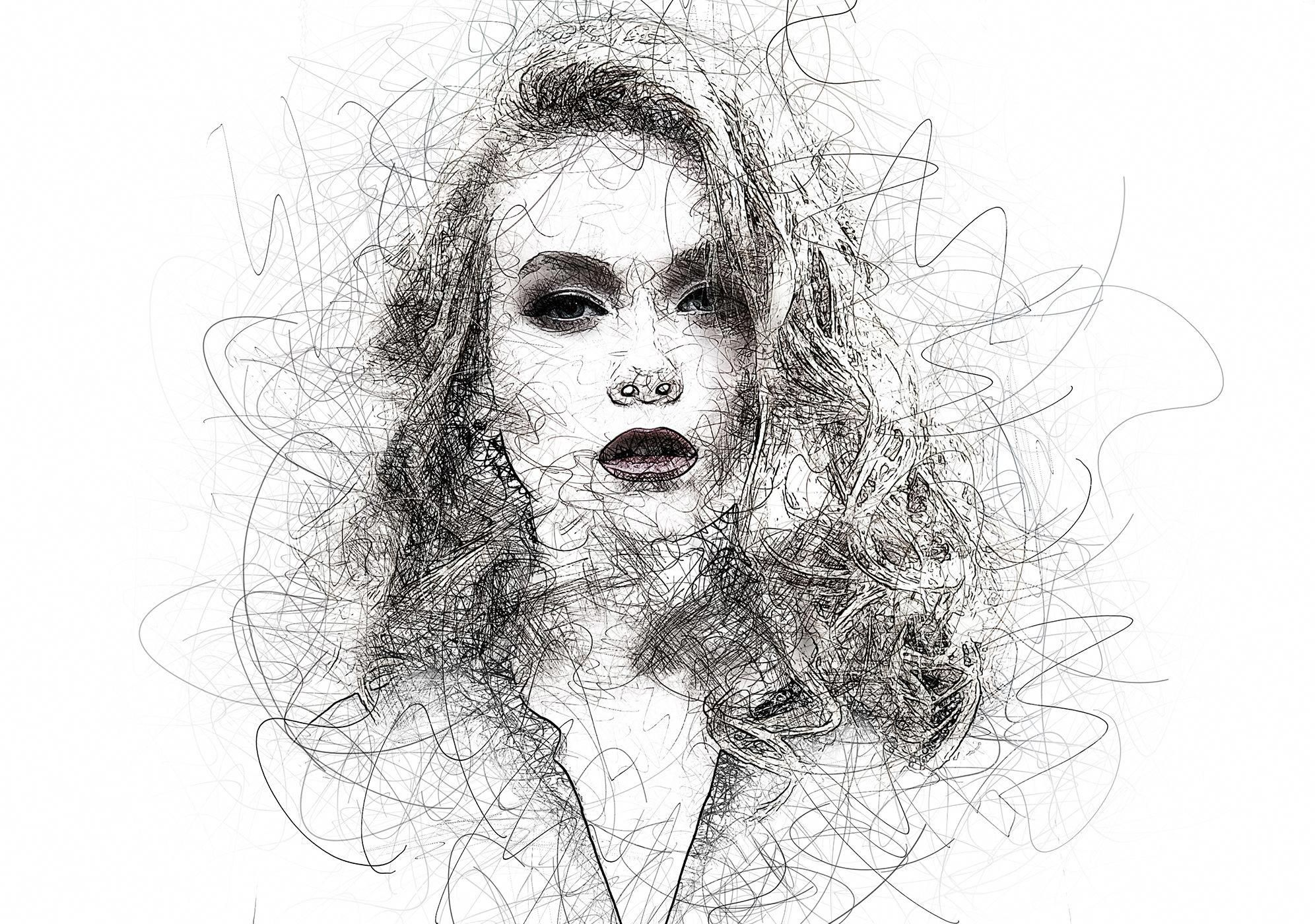 Portrait Scribble Sketch Art Photoshop Action In 2020 Sketches