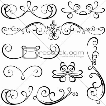 Calligraphic Elements Victorian Shapes Patterns