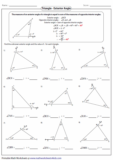 Angles in a triangle worksheet answers with work