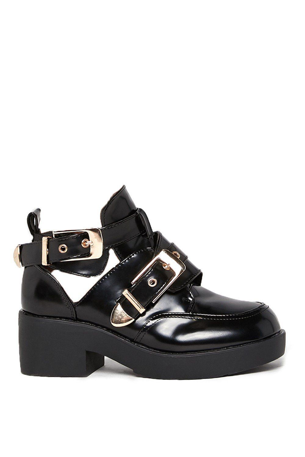a1da0bf5613 Kayla Black Buckle Cut Out Boots from  misspap