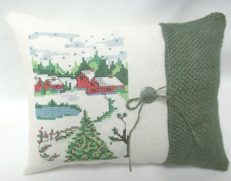Country Christmas Cross Stitch Mini Pillow Winter Decor Kanavice
