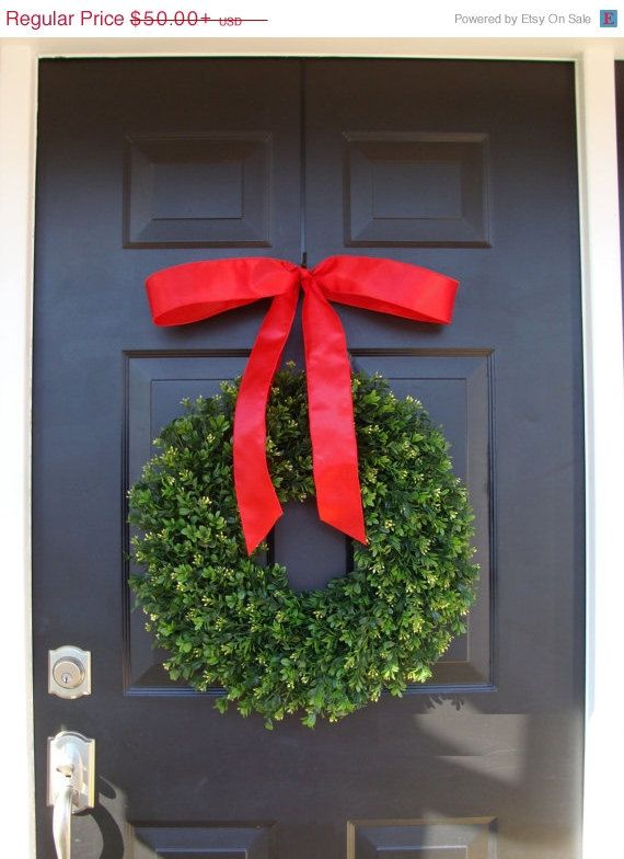 Realistic Artificial Boxwood Christmas Wreath- Outdoor Christmas - outside christmas decorations sale