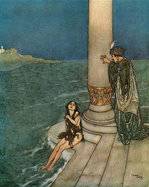 1910's, Edmund DuLac, Hans Christian Andersen, mermaids, The Little Mermaid