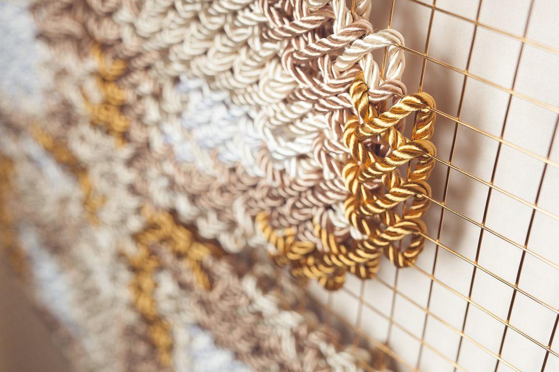 Arquicostura Raquel Rodrigo cross stitching installation close up on ...