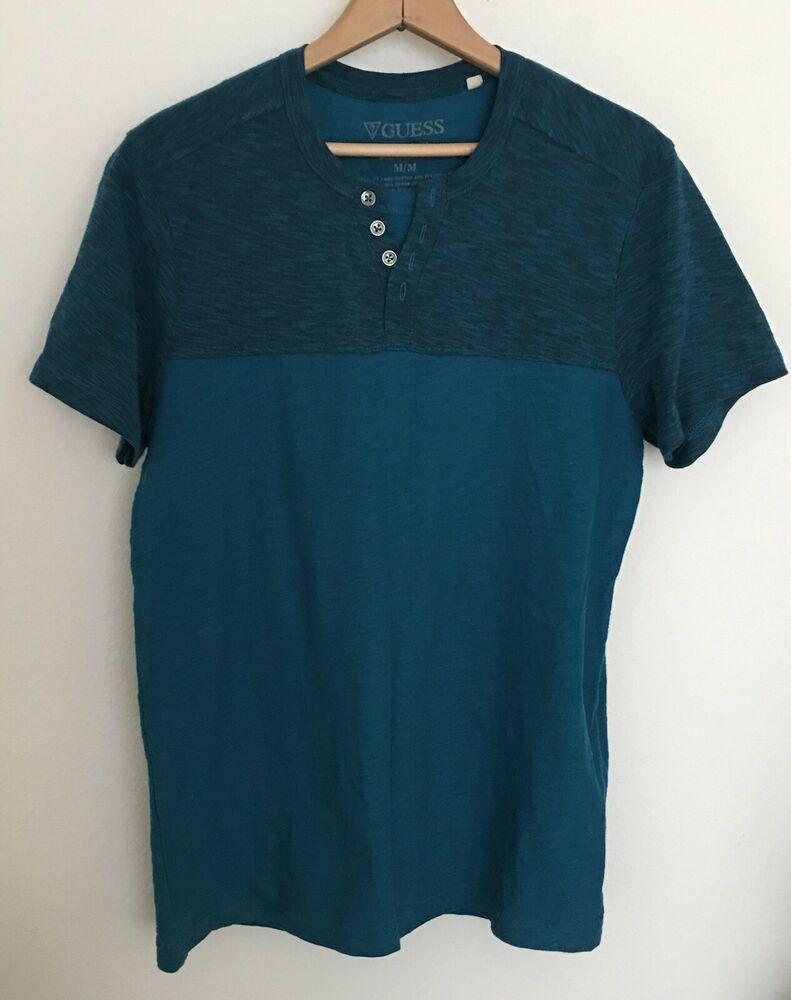218cb6e3 #GuessShirts Blue Green Teal Men's Size M Henley 1/4 Button t-shirt Two  Tone | eBay NWOT