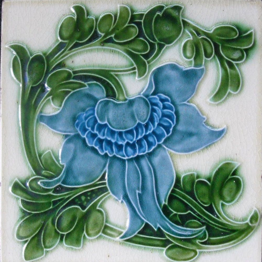 Decorative Wall Tile Art Art Nouveau Ceramic Decorative Wall Tile 6 X 6 Inches #11  Art