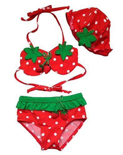 8322ed37a5805 Moon Soul Little Girl Cute Strawberry Swimwear Bikini Swimsuit Hat 3-Piece  Suit 3T Moon