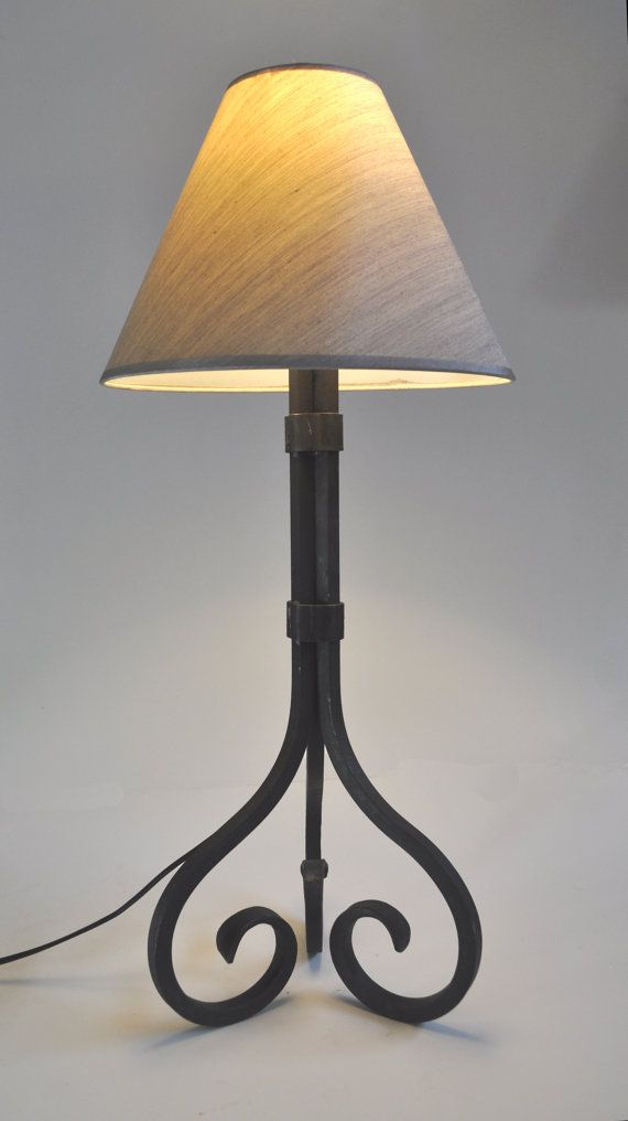 Items similar to hand forged iron table lamp on etsy