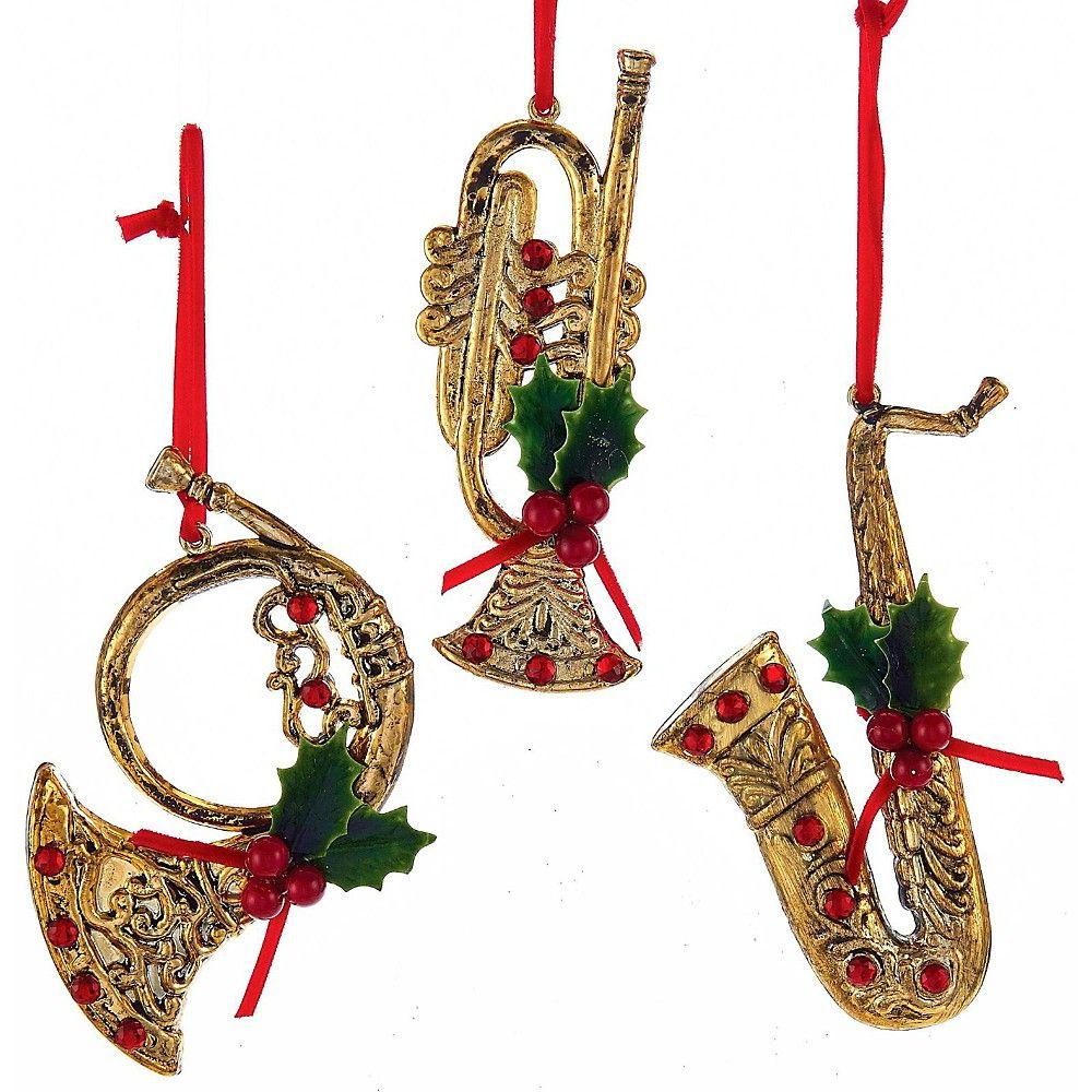 Musical instruments ornaments - Kurt S Adler Red Gold Musical Instrument With Holly Red Gem Ornaments