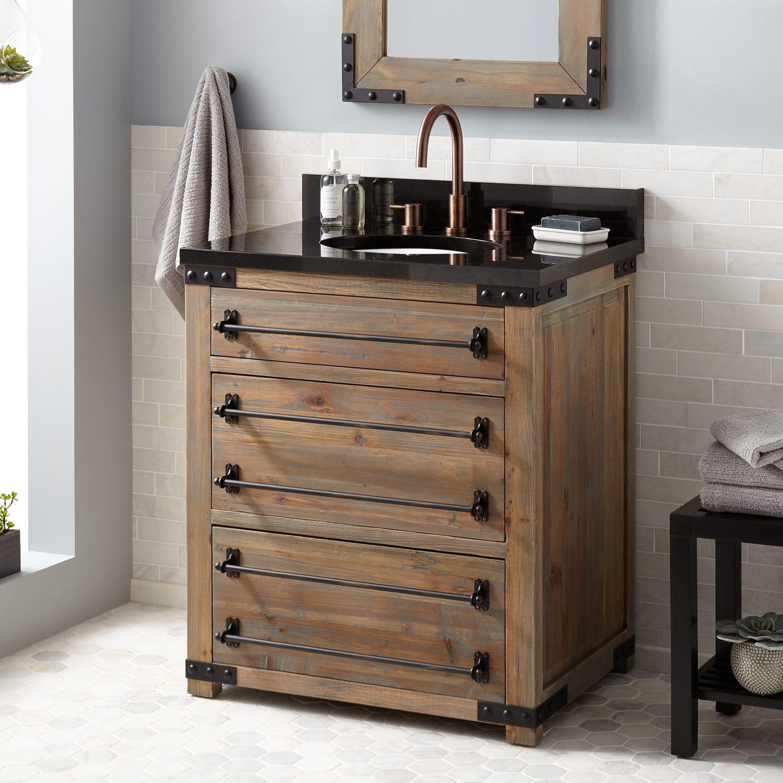 30 Bonner Reclaimed Wood Vanity For Undermount Sink Gray Wash Pine Reclaimed Wood Vanity Wood Vanity Granite Vanity Tops