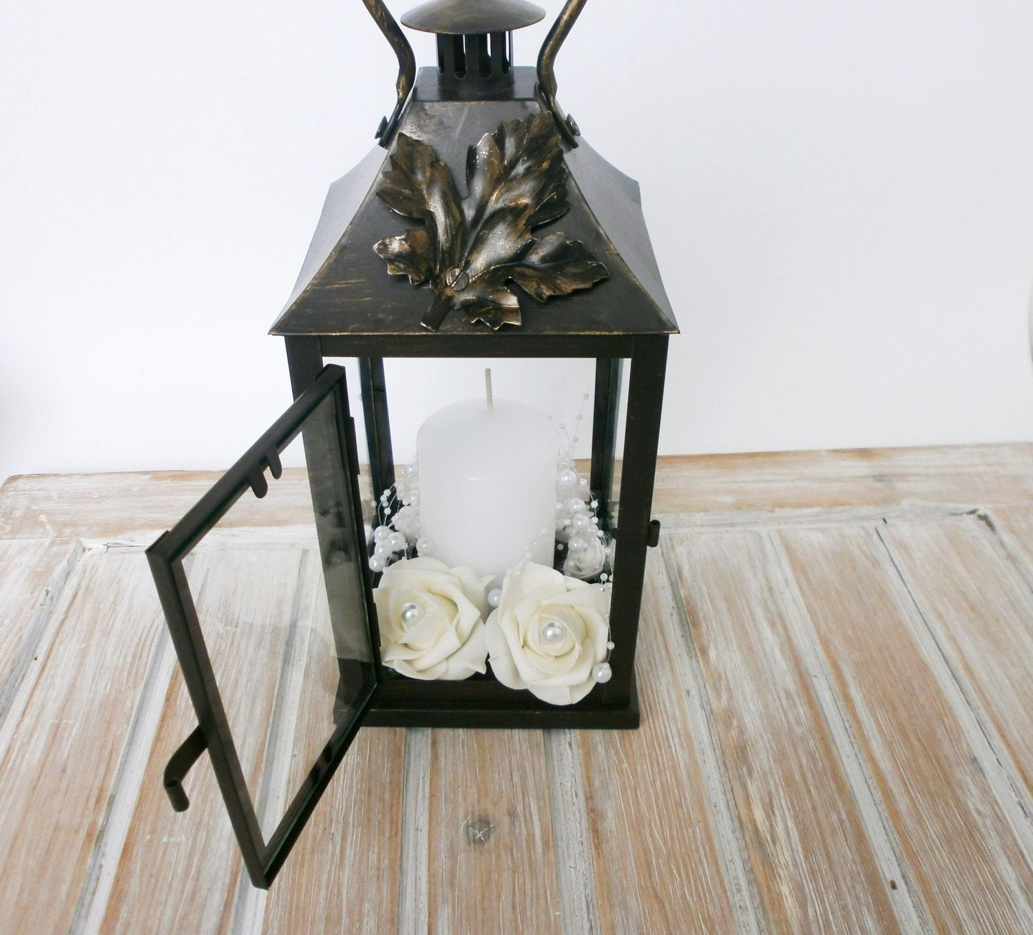 Rustic Lantern Wedding Centerpiece Candle Holder Decoration Vintage Decor Pearl And Roses