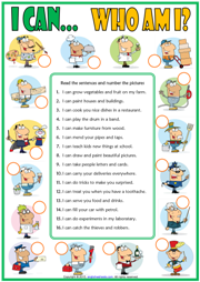 can or can't esl matching exercise worksheet with jobs theme ...