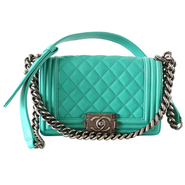 4fec251d66b9 Fabulous small LE BOY flap bag in a deep rich seafoam green. Stunning with  antique silver hardware.