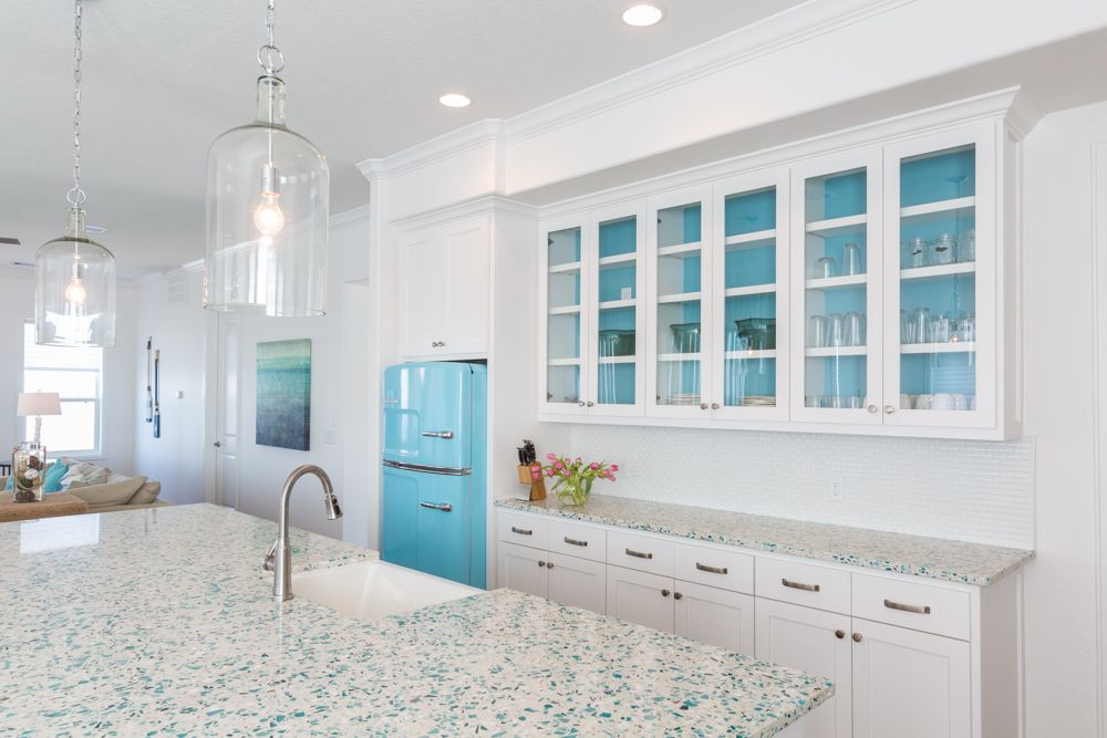 When A Kitchen Design Is Too White Add Color With Glass Counters Kitchen Remodel Countertops Kitchen Design Beach House Decor